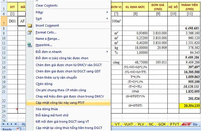 Cập nhật dữ liệu trong sheet DGCT